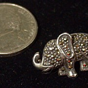 SALE Vintage Judith Jack Elephant Pin In Sterling & Marcasites, Tiny!