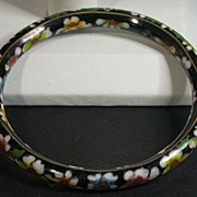 Vintage Asian Cloisonne Bangle Bracelet, Black w/Flowers