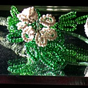 Vintage Beaded Wire Flowers, Pair of White Blossoms