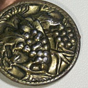 Vintage Brass Grape Cluster Motif Button, Embossed