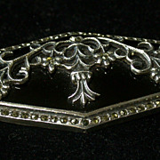 Vintage Sterling, Onyx & Marcasite Brooch With Floral Fretwork