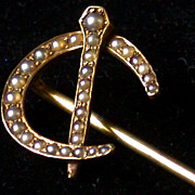 Antique 14K Gold & Seed Pearl Horseshoe Stickpin, Marked