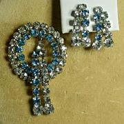 Vintage Peacock Blue & Clear Rhinestone Pin/Pendant & Earrings