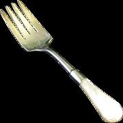 Antique MOP-Handled Serving Fork,Engraved Silverplate & Sterling