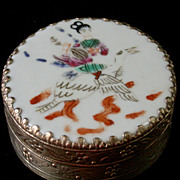 SALE Vintage Chinese Round Metal Box With Porcelain Lid, Hand Painted