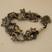 Vintage Handmade Beaded Cat Fancier's Bracelet w/Hematite, etc.