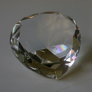 Vintage Clear Crystal Faceted Heart-Shaped Paperweight