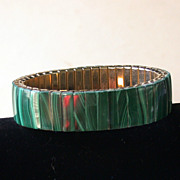 Vintage Malachite Vertical Patterned Flex-band Bracelet