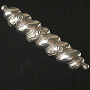 Antique English Silvery Metal Bar Pin, Registry Marks for 1883
