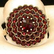 Vintage Bohemian Garnet Ring, Round 4-Tier W/Center Stone, Size 9.5