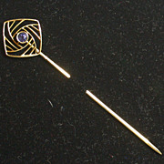 Antique 14K Yellow Gold And Sapphire Stickpin