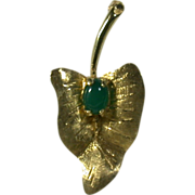 Emerald Cabochon & 14K Yellow Gold Leaf Form Vintage Pin