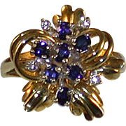 Mid-20th Century 14K/Sapphire/Diamond Ring, Size 7 ¼