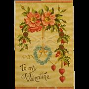 Antique Valentine Postcard, Embossed, Textured c. 1910-13