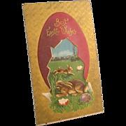 Antique Easter Postcard, C. 1911, Embossed, Textured