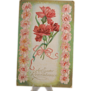Easter Postcard, Pink Flowers & Canadian Postage Stamp