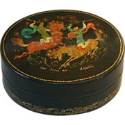Russian Lacquer Box, Soviet Era, Two Warriors, Signed, Dated