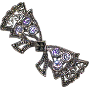 Iolite/Marcasite/Sterling Silver Vintage Bow Pin