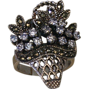 Giardinetto Ring, Sterling/Marcasites/Lavender Ice CZs, Vintage
