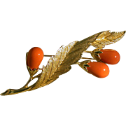 """Sarah Coventry """"Bittersweet"""" Faux Coral Pin, Circa 1960's"""