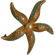 Kramer Starfish Pin Set w/Faceted Faux Turquoise & A Faux Pearl