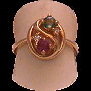 Vintage Emerald, Ruby & Diamond Lady's 14k Ring , Size 4 ¾
