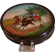 Fedoskino Russian Lacquer Box, Oval, Hinged, Troika Scene
