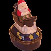 Porcelain Figural Santa/Sleigh Box W/Trinket Inside