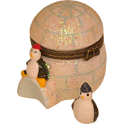 Figural Igloo Box With Penguins, Hand Painted, Porcelain