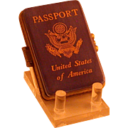 SOLD American Passport Form Figural Porcelain Box w/Hinged Lid