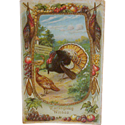 Thanksgiving Postcard Harvest Images/Turkey/Embossing c.1910