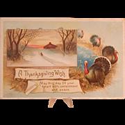 Thanksgiving Postcard, Turkeys, Snowy Landscape & Greeting