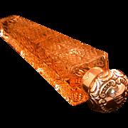 Vintage Avon Perfume Bottle, 1979 Cap, Filled, Pressed Glass Obelisk Shaped