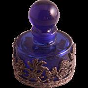 Cobalt Blue Glass Perfume Bottle w/Floral Pewter Overlay, Vintage