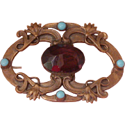 Art Nouveau Period Pin Set W/Purple Glass & Turquoise Glass Cabochons