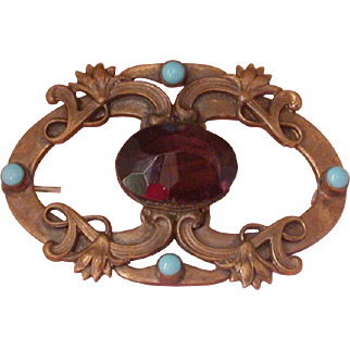Art Nouveau Period Pin Set W/Purple Glass & Turquoise Glass Cabochons