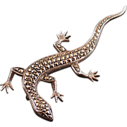 Marcasite and Sterling Silver Figural Lizard Pin, Vintage