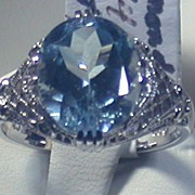 SALE Blue Topaz/Diamond 14K White Gold Filigree Ring, Size 6.5