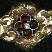 SALE Garnet/Pearl  10K Gold-top Victorian Pin w/Silver Back