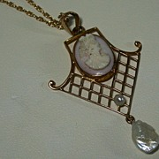 Vintage Conch Shell Cameo in 10K Mounting w/ Pearl Accents