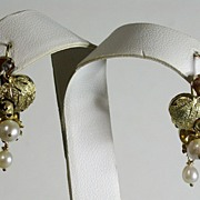 Antique Victorian 14K Gold Floral/Leaves & Pearl Drop Earrings