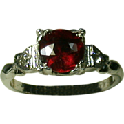 SALE Vintage Sterling Lady's Ring W/Synthetic Ruby/Clear Stones