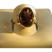 Vintage 14K Rose Gold And Amethyst Lady's Ring Size 5 ½
