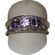 14K White Gold Lady's Ring, Purple & Pink Stones,  Size 7