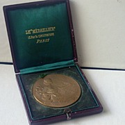 French Bronze Horticultural Medal, Cased Circa 1906