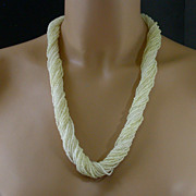 """Torsade Necklace in Tiny Seed Beads w/Decorative Clasp,  25"""" Long"""