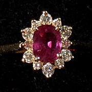 Rubellite Tourmaline, Diamond  & 14K Gold Ring, Vintage, Size 6.25-6.5