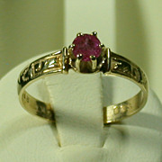 Antique 10K Gold & Ruby Ring Circa 1890, Size 6