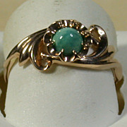 Rose Gold 14K & Turquoise Ring, Vintage, Russian, Size 6.25