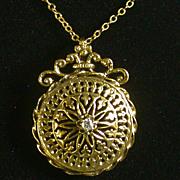 14K & Diamond Openwork Pin/Pendant On 14K Gold Chain, Vintage